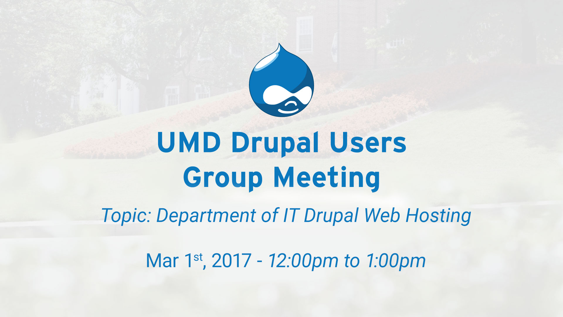 UMD Drupal Users Group - Web Hosting