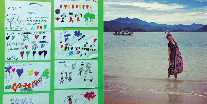 Yeh spent an afternoon coloring with neighborhood children, and she hung their artwork on her wall (left),  Yeh posing on beaches in Santai Dipantai (right).