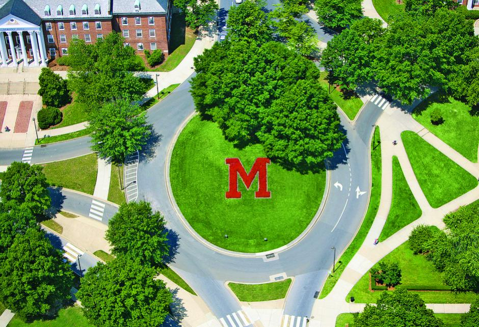 Aerial shot of M traffic circle in summer