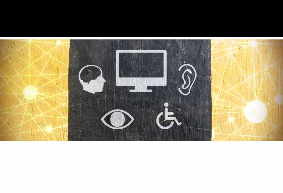 Graphic of accessibility icons: ear, brain, eye, wheelchair and computer monitor
