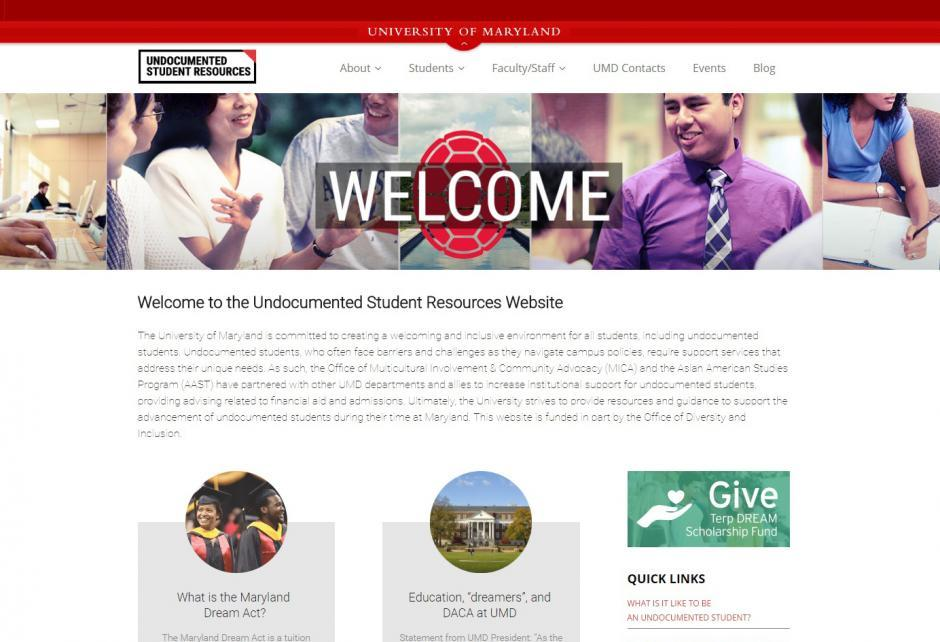 Undocumented student services and support website