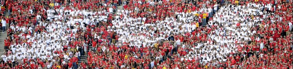 Students at Byrd Stadium
