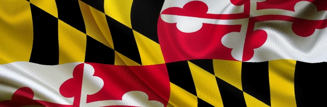 flowing Maryland state flag